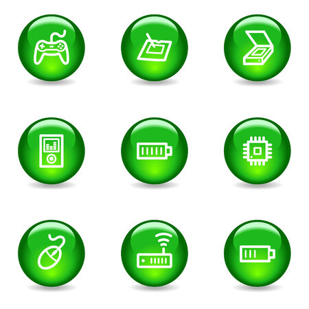 Electronics 2 web icons, green glossy sphere series Stock Vector - 3585304
