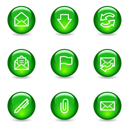 E-mail web icons, green glossy sphere series Vector