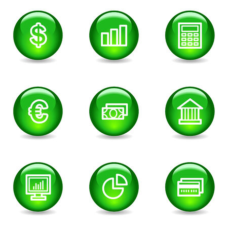Finance web icons, green glossy sphere series Vector