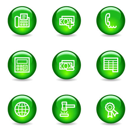 Finance 2 web icons, green glossy sphere series Stock Vector - 3585307