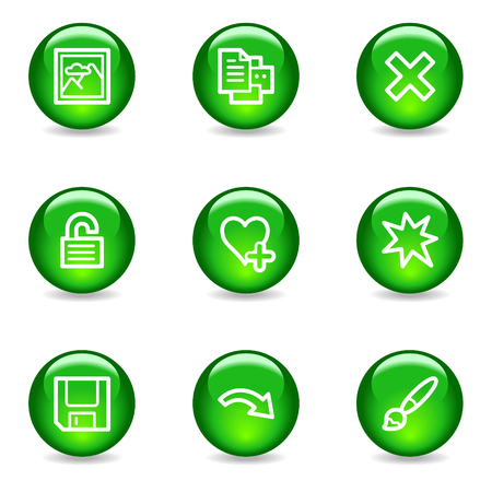 Image viewer 2 web icons, green glossy sphere series Stock Vector - 3585294