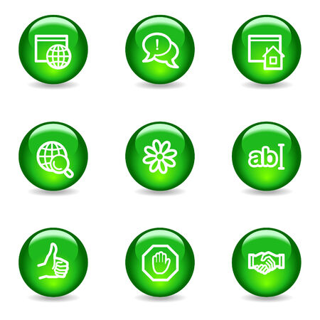 Internet communication web icons, green glossy sphere series Vector