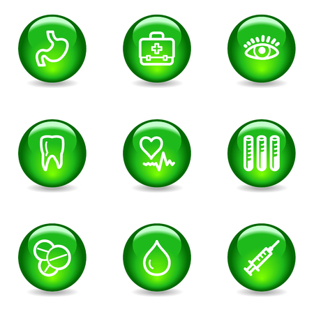 Medicine web icons, green glossy sphere series Vector