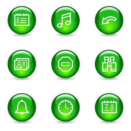 Organizer web icons, green glossy sphere series Stock Vector - 3585296