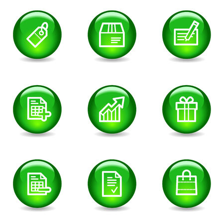 Shopping web icons, green glossy sphere series Vector