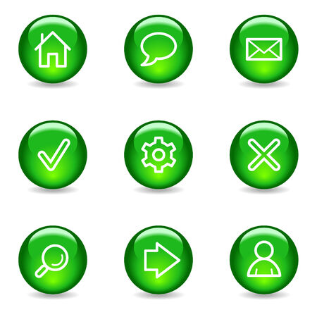 preferences: Basic web icons, green glossy sphere series