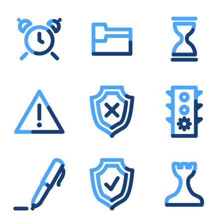 Administration icons, blue contour series Stock Vector - 3616162