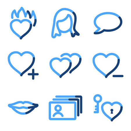 dating icons: Dating icons, blue contour series
