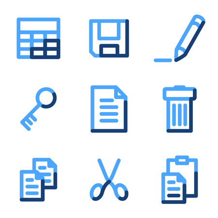 Document icons, blue contour series Vector