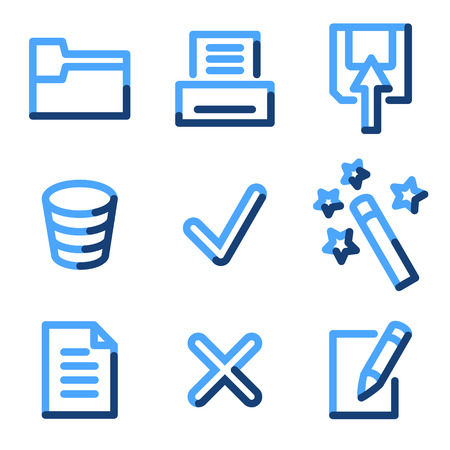 Document 2 icons, blue contour series Vector