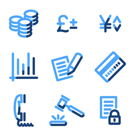 E-business icons, blue contour series Vector