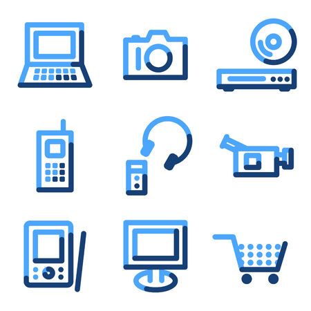 Electronics icons, blue contour series Vector