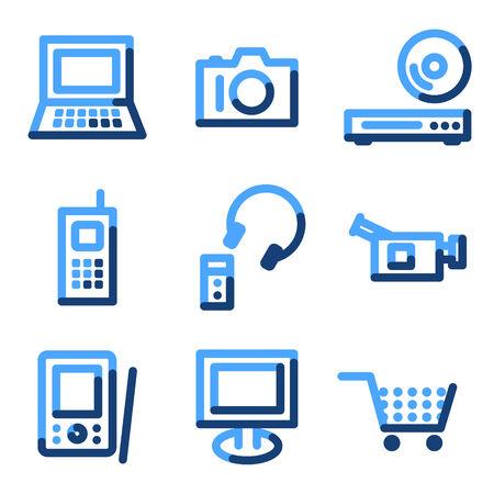 Electronics icons, blue contour series Vector
