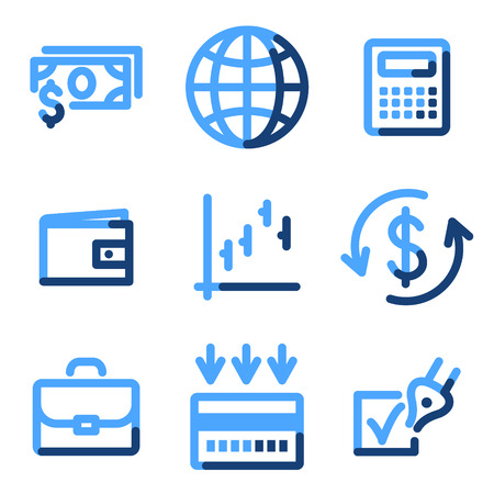 Finance icons, blue contour series Stock Vector - 3616184