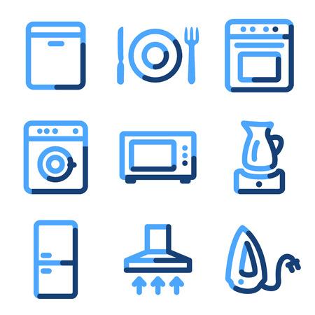 Home appliances icons, blue contour series Vector