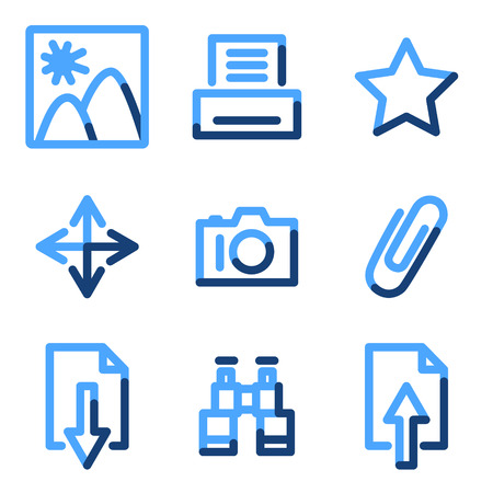 Image library icons, blue contour series Stock Vector - 3616168