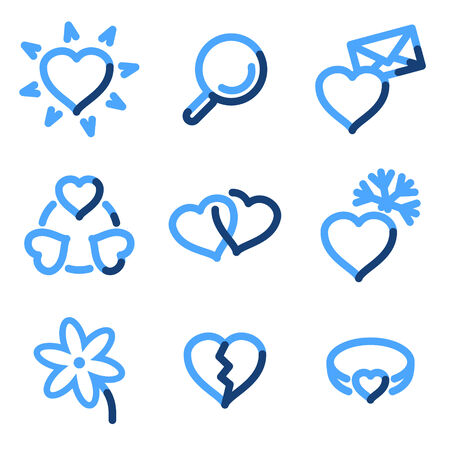 Love icons, blue contour series Stock Vector - 3616183