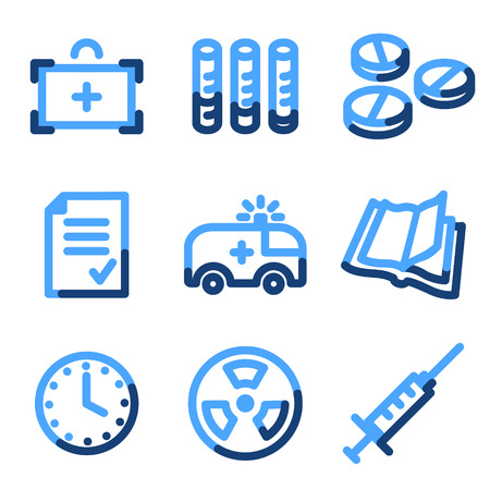 Medicine icons, blue contour series Stock Vector - 3616188