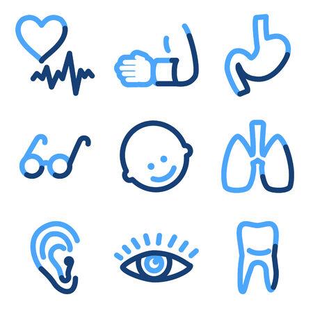 Medicine 2 icons, blue contour series Stock Vector - 3616174