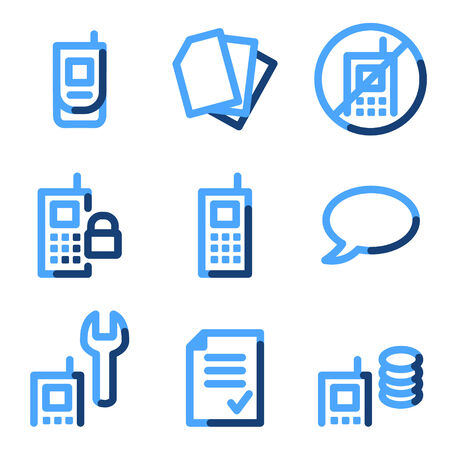 Mobile phone 2 icons, blue contour series Vector