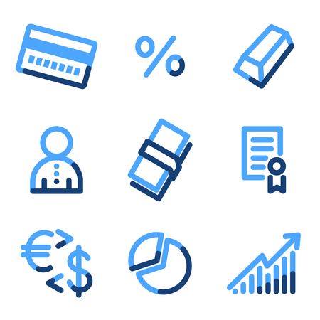 Money icons, blue contour series Vector