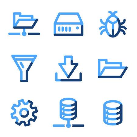 Server icons, blue contour series Stock Vector - 3616171