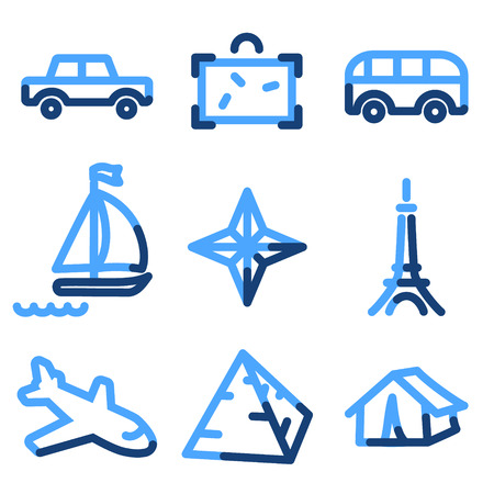 Travel 2 icons, blue contour series Vector