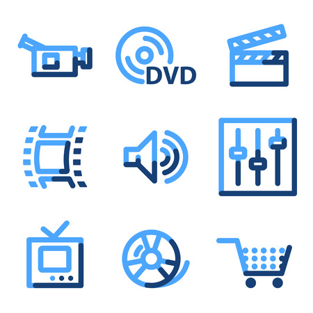 Video icons, blue contour series Vector