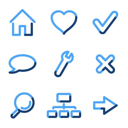 Web icons, blue contour series Vector