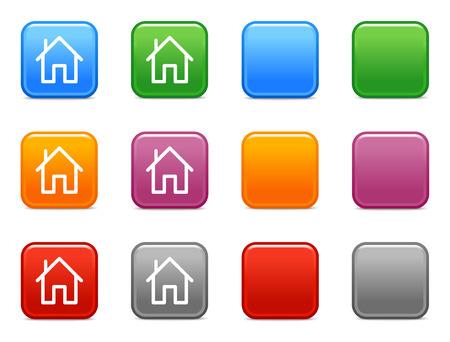 icone maison: Boutons de couleurs avec la maison ic�ne Illustration