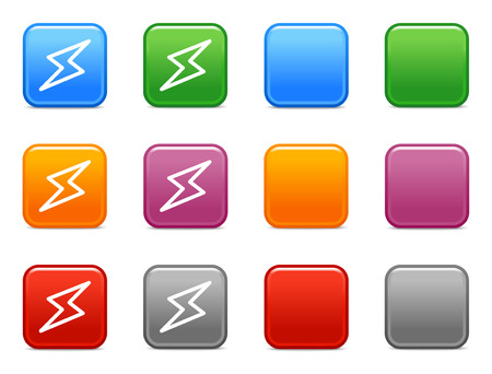 Color buttons with lightning icon Vector