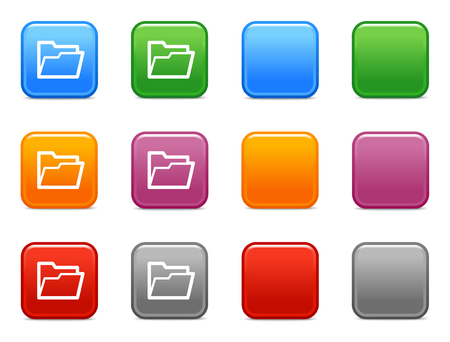 Color buttons with open folder icon Vector