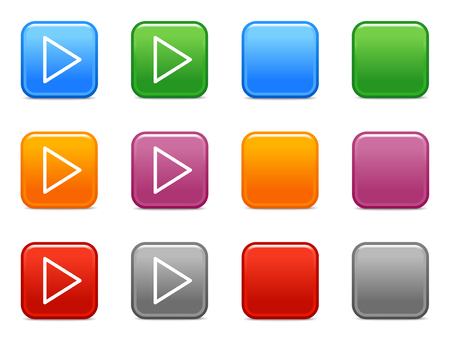 Color buttons with play icon Vector
