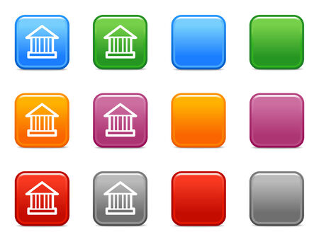 Color buttons with bank icon Vector