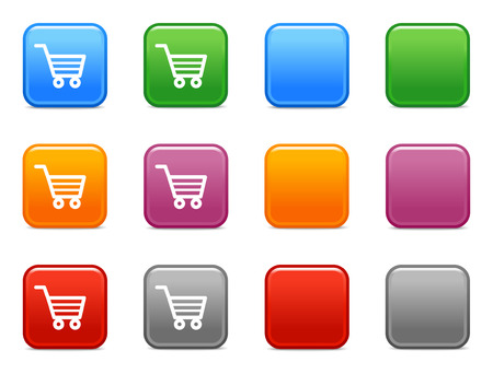 add button: Color buttons with shopping cart icon Illustration