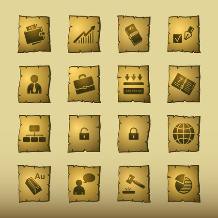 papyrus business icons Vector