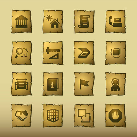 papyrus building icons Vector