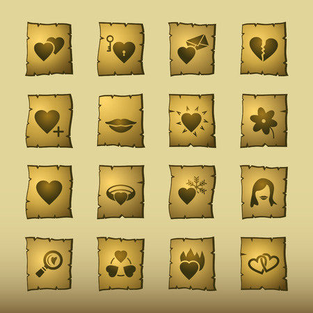 papyrus love icons Vector