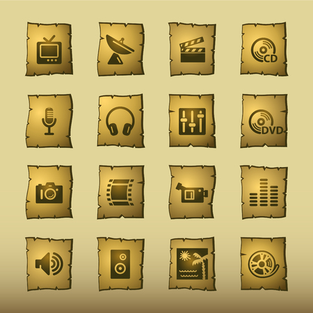 papyrus media icons Vector