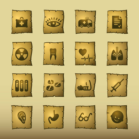 papyrus medicine icons Vector