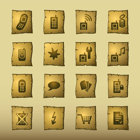 papyrus mobile phone icons Vector