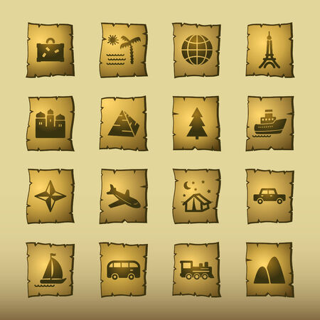 papyrus travel icons Vector