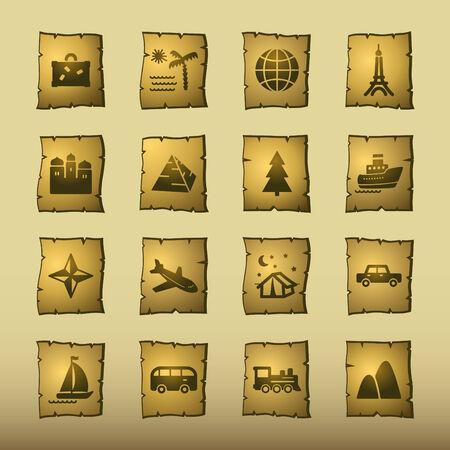 papyrus travel icons Illustration