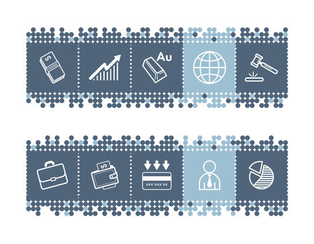 blue dots bar with business icons Stock Vector - 3640806