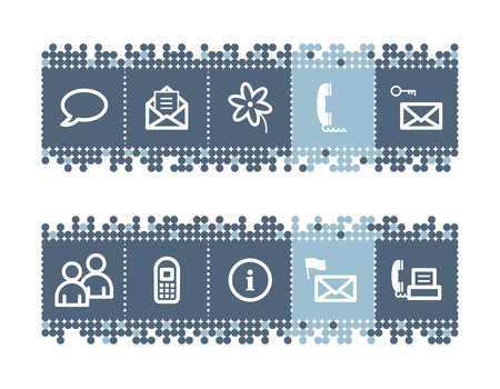 Blue dots bar with communication icons Vector