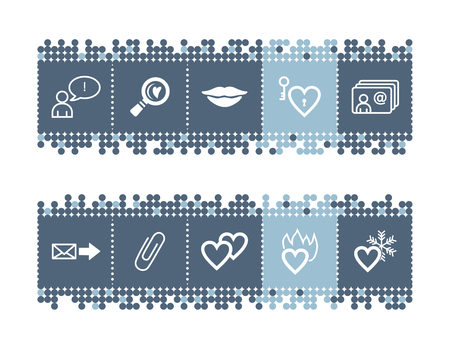 dating icons: Blue dots bar with dating icons