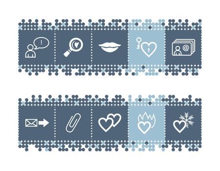 hot lips: Puntos azules con barra de iconos que datan