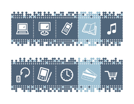 blue dots bar with e-shop icons Stock Vector - 3640805