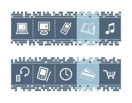 eshop: blue dots bar with e-shop icons