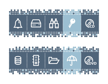 Blue dots bar with file-server icons Stock Vector - 3640792